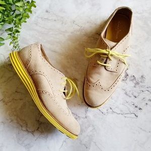 Cole Haan   Taupe Suede Lunargrand Oxford Sneakers